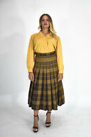 VINTAGE Gonna Lunga Giallo In Lana Pura Taglia IT 44 - M Donna Woman