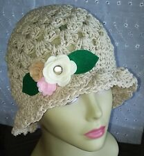 The perfect summer sun hat crushable cloche style handmade felted flowers