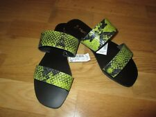 Next flat green black peep toe sandal shoes size 8 eur 42 brand new with tags