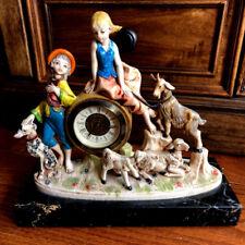 Fontanini Depose Italy Mantel Clock Farm Children Animal Marble Base Vintage (C)