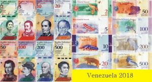 Venezuela - Lote 8Pcs 2/5 / 10/20/50 /100/200/500 Bolívares Soberano 2018