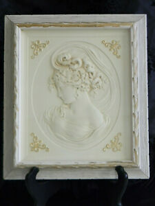 VINTAGE EMBOSSED FRENCH LADY BUST PORTRAIT~Original Creamy White Frame~2 of 2
