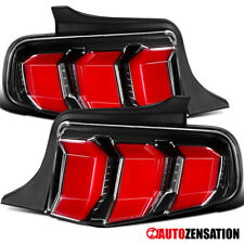 For 2010-2012 Ford Mustang Slick Black LED Sequential Signal Tail Lights Lamps