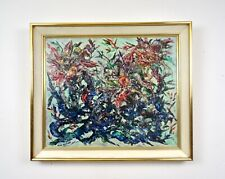 MID CENTURY MODERN ABSTRACT FRAMED PAINTING SIGNED BY INGE SACHS  1970 ART