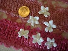 "12pc white satin daisy flower pearl bead applique 3/4""w"