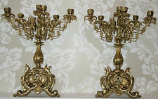 PAIR ANTIQUE CANDELABRAS Louis XV H41cm French Bronze Gilt/Gold 2 Candlesticks