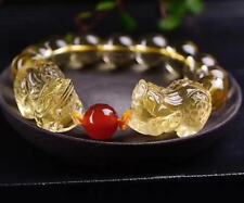 Genuine Natural Citrine Quartz Crystal Gragon Pi Xiu Bracelet 13mm AAAA