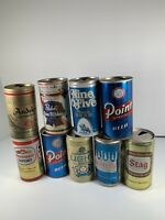 Lot Of 9 Vintage Pull Tab Beer Cans Pabst NineOFive Point Hamms Stag Schlitz