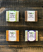 Asatre Handmade Natural Hemp Soap Bar 4-pack Bundle Eucalyptus,Oatmeal Goat Milk