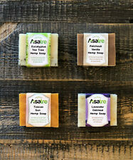 Asatre Handmade Natural Hemp Soap Bar 4-pack Bundle|Eucalyptus,Oatmeal Goat Milk