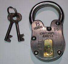 Antique Style Captain's Sea Chest Anchor Padlock w/ Skeleton Key Lock Heavy Duty
