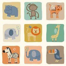 BABY JUNGLE BLOCKS fabric by Makower ANIMALS LION HIPPO GIRAFFE ZEBRA MONKEY