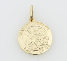 14K Solid Real Yellow Gold Religious Small Saint Michael Medal Pendant 15mm 9/16