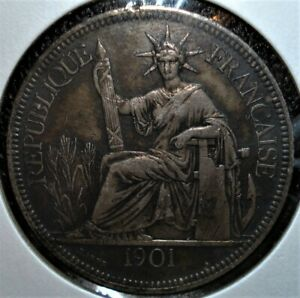 1901-A Silver Piastre Coin from French Indo-China (Vietnam) in Large Holder