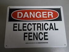 """NEW Brady 124764 """"Danger Electrical Fence"""" Safety Sign  *FREE SHIPPING*"""