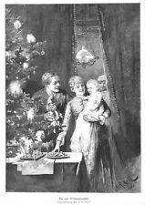 Weihnachten, erste Weihnachten für Kleinkind, Original-Holzstich von 1886
