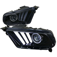 Mustang Headlight Projector 2015 Style LED Black Smoked Pair 2010-12