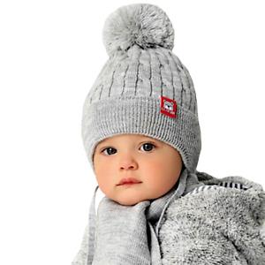 AJS Baby Jungen Winterset Mütze Wintermütze Strickmütze Bommelmütze Schal Wolle