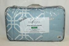 "NEW Charisma KING Reversible Down Alternative Blanket Blue/White 114"" x 100"""