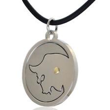 Ciondolo zodiaco cinese BUE in acciaio liscio satinato borchia in oro 18kt