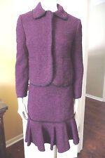 DKNY Wool Blend Berry/Black Tweed Blazer And Pencil Skirt Suit 4