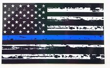"TATTERED Thin Blue Line Police respect flag Vinyl Decal Sticker 3""x5"" Support US"