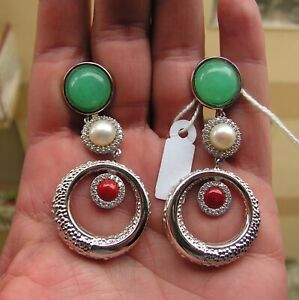 Handmade Silver 925 Chrysoprase Green Pearl Coral Natural Clip On Earrings