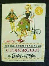 VINTAGE BARBIE KEN CINDERELLA Little Theatre PAMPLET #0872 1963 Excellent cond