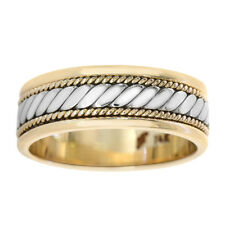 Comfort Fit Men's Wedding Band 7.0mm 14k Two Tone Gold
