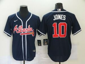 Atlanta Braves #10 Chipper Jones Cooperstown Dual patches Sewn Jersey