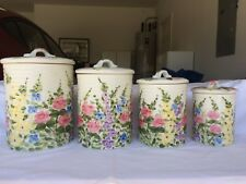 4 Pc Kitchen canister set beautiful floral design, no defects
