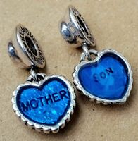 Mother Son Blue Love Hearts Set European Bead Jewelry Dangle Charms GIFT for MOM