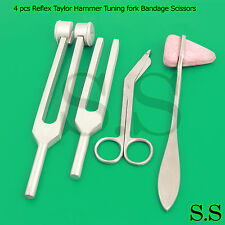 Set of 4 pcs Reflex Taylor Hammer Tuning fork c128 512 Bandage Scissors 5.5''