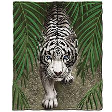 White Tiger Fleece Throw Blanket