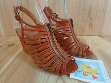 "RAMPAGE Caligo Strappy Wedges Size 10 M BROWN Zip Front Ankle Buckle 4"" Heels"