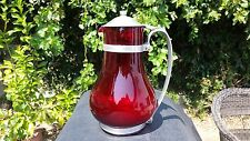 Ruby Red MacBeth Evans Batter Jug / Hostess Pitcher with Metal Lid and Handle
