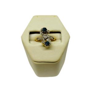 BELLE BAGUE ANCIENNE TOI ET MOI EN OR 18K SAPHIRS ET DIAMANTS or 18 carats