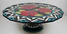 Pedestal Cake-Pie Stand/Serving Platter/Stoneware Black/Red Roses/Joyce Shelton