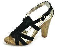 426 Cuero Tacones Altos Retro Sandalias de Tiras Zapatos Tacón Negro Killah 38
