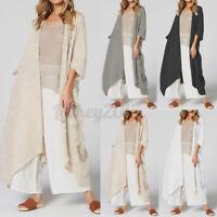 US STOCK Women Waterfall Long Kimono Coat Beach Holiday Long Cardigans Cover Up