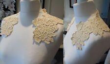 Dark ivory cotton floral lace collar applique vintage style floral lace motif