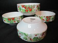 "Royal Doulton English Fine Bone China 4 Dessert Bowls Strawberry Design 4"""