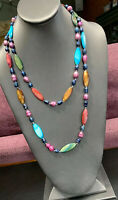 """MOP Freshwater Pearl Dyed Bohemian  Beaded Long 48"""" Statement Necklace"""