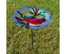 Bird Baths Majestic Cardinal Glass Staked Bird Bath Se5024