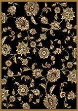 "Black Oriental Floral Area Rug 8x11 Leaves Persian Carpet -Actual 7' 8"" x 10' 4"""
