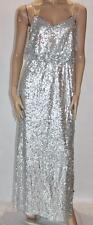 AIDAN MATTOX Designer Silver Sequins Evening Dress Size S BNWT #si106