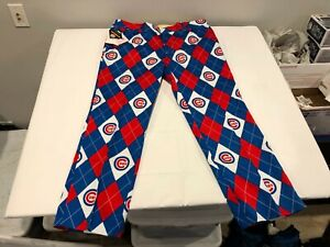 NWT $125.00 Loudmouth Mens Chicago Cubs Argyle StretchTech Pants Size 32W x 34L