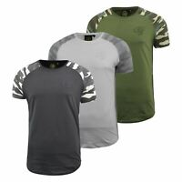 Mens Crosshatch T-shirt Contrast Camo Top Tee