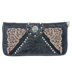 New Western - Black Faux Leather Zippered Purse with Turquoise - [LW7008] ladies