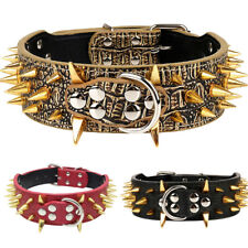 Pet Dog Collar Spiked Studded Rivet PU Leather For Pit Bull Mastiff Rottweiler